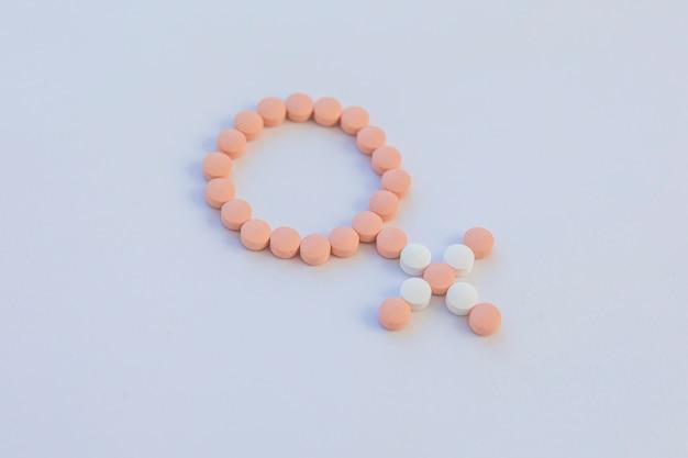 Pilules contraceptives faisant un signe féminin Photo gratuit