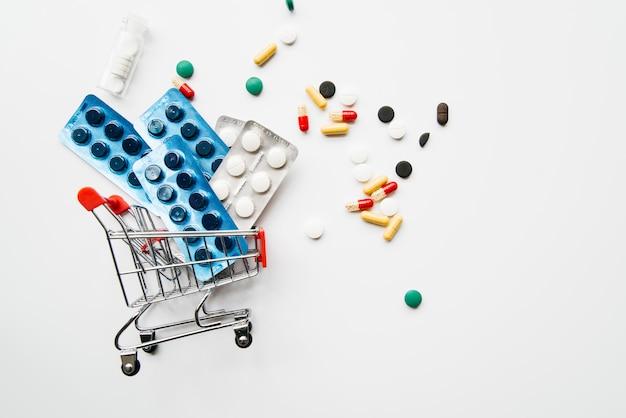 Pilules vue de dessus à l'intérieur du panier Photo gratuit