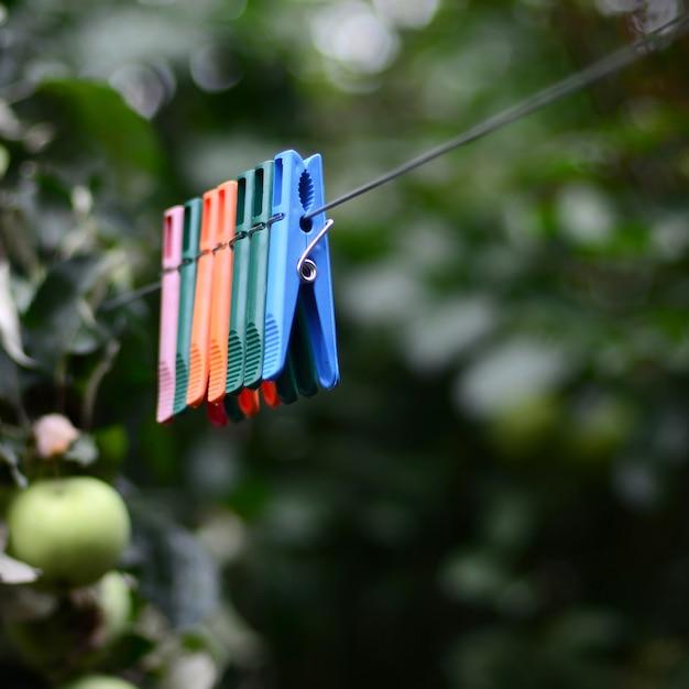 Pinces à linge sur une corde suspendue à l'extérieur de la maison et pommier Photo Premium