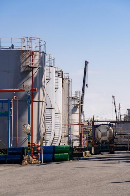 Pipeline usine de traitement des huiles chimiques Photo Premium