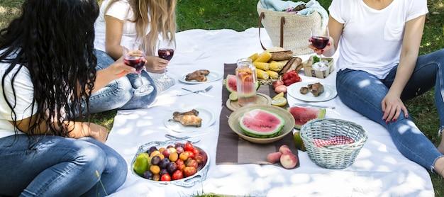 Pique-nique D'été Avec Des Amis Dans La Nature Avec De La Nourriture Et Des Boissons. Photo gratuit