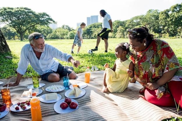 Pique-nique familial en plein air concept de relaxation Photo Premium