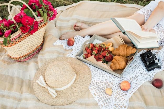 Pique-nique Sur Le Terrain Dans Le Village. Chapeau, Appareil Photo Rétro. Fruits Frais Et Fleurs Naturelles Dans Un Panier. à L'extérieur, Se Détendre En Vacances Photo Premium