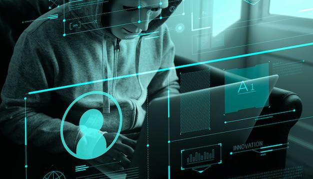 Pirate anonyme commettant un crime informatique Photo Premium