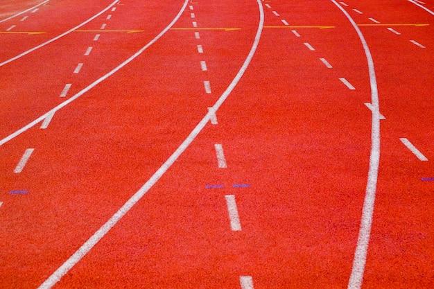Piste de course en gros plan avec courbes et tirets Photo Premium