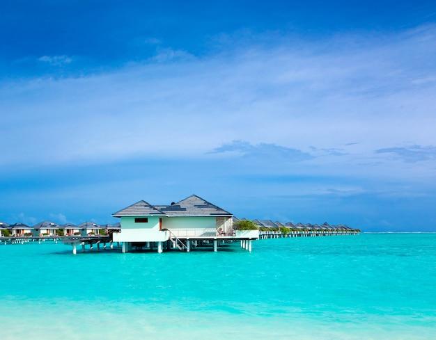 Plage tropicale aux maldives avec quelques palmiers et un lagon bleu Photo Premium