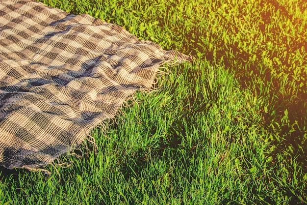 Plaid Pour Un Pique-nique Sur L'herbe. Mise Au Point Sélective. Photo Premium