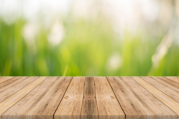 Planche en bois avec fond flou nature Photo gratuit