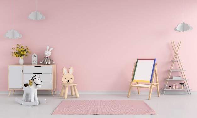 Planche à dessin et chaise à l'intérieur d'une chambre d'enfant rose Photo Premium