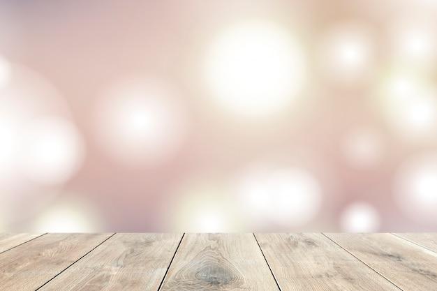 Planches De Bois Beiges Avec Lumières Bokeh Photo gratuit