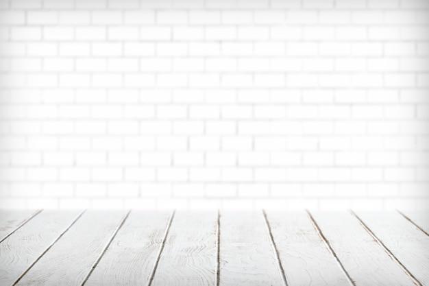Planches De Bois Blanches Avec Produit De Mur De Brique Blanche Photo gratuit