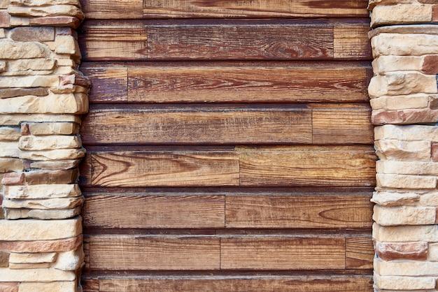 Planches en bois avec mur de briques de cadrage. espace de copie. Photo Premium