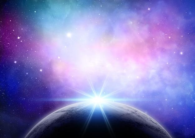 Planète avec une lumière Photo gratuit