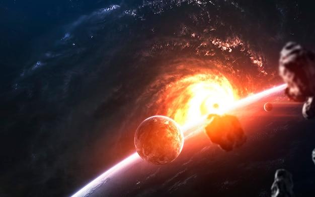 Les planètes devant la galaxie rougeoyante, un superbe fond d'écran de science-fiction. Photo Premium