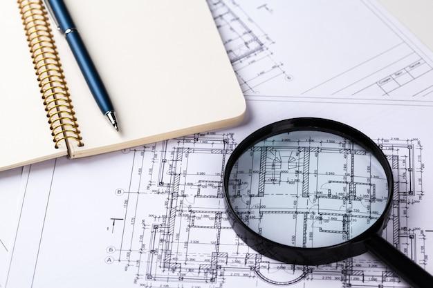 Plans d'architecture bleue Photo Premium