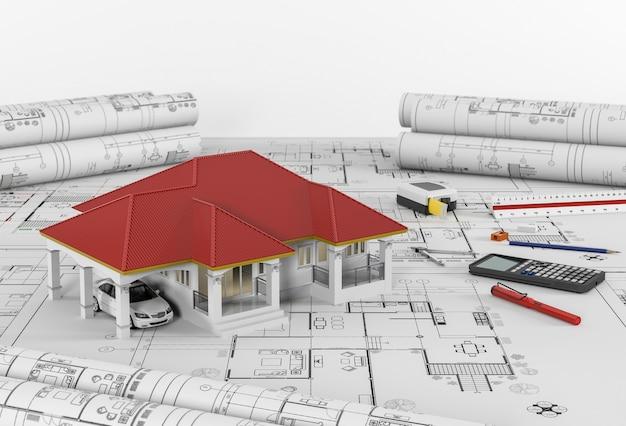 Plans De Construction Avec Outils De Dessin Et Maison