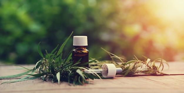 Plante et feuilles de cannabis avec extraits d'huile dans des bocaux. Photo Premium