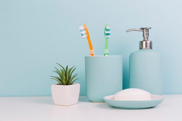 Plantez près du savon et des brosses à dents Photo gratuit