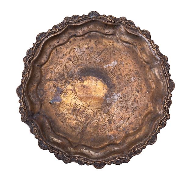 Plaque de cuivre ronde vide isolée sur fond blanc Photo Premium