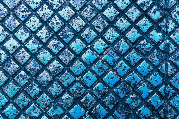 Plaque de métal couleur bleu texture et fond Photo Premium