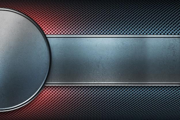 Plaque en métal perforée avec bannière polie en tôle ronde et rectangulaire. Photo Premium
