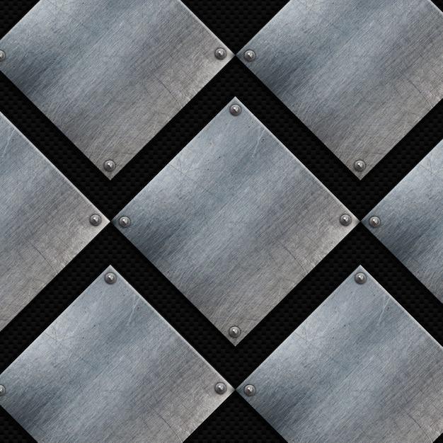 Plaques de métal grunge sur une texture de fibre de carbone Photo gratuit