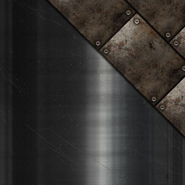 Plaques de métal grunge sur une texture métallique rayée Photo gratuit