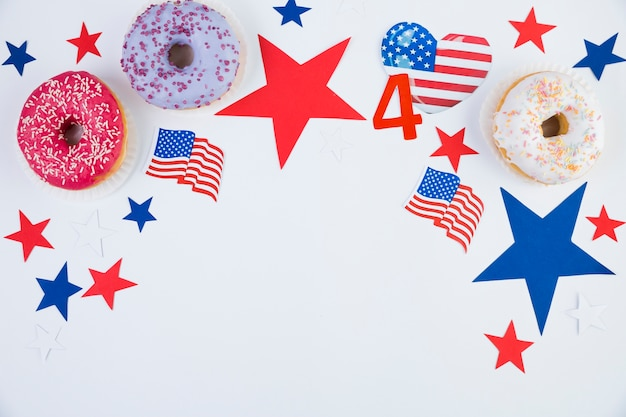 Plat lay d'accessoires usa independence day Photo gratuit