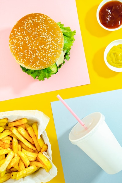 Plat Pose De Fast Food Menu Photo gratuit