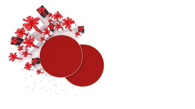 Plate-forme D'espace Rouge à Plat Il Y A Une Boîte-cadeau Pour Célébrer Le Nouvel An Chinois Photo Premium