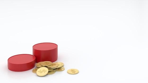 La Plate-forme Ronde Rouge Avait Différents Niveaux De Pièces D'or Photo Premium
