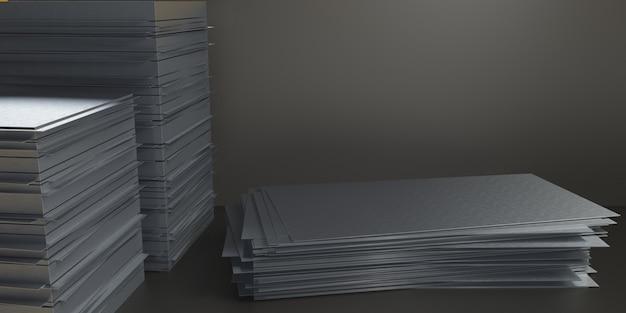 Plateforme De Rendu 3d Pour La Conception, Support De Produit Vierge, Plaque D'acier Photo Premium