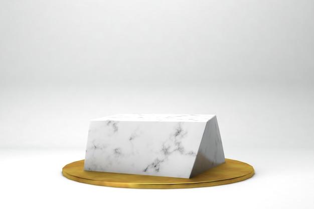 Platine de rendu 3d de forme géométrique pour produits ou réalisations marbre et or en studio blanc Photo Premium
