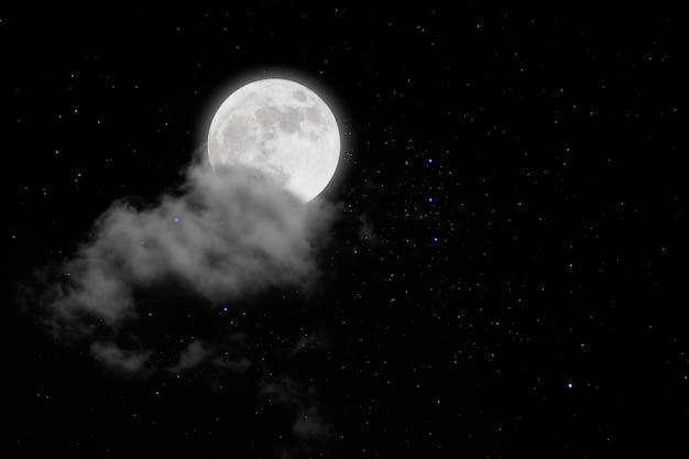 Pleine lune avec étoiles et nuages. nuit romantique Photo Premium