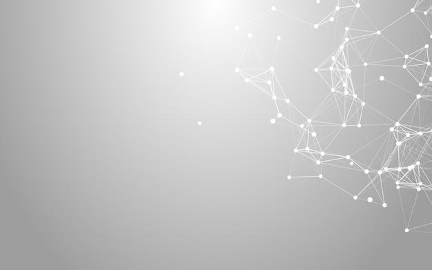 Plexus, fond blanc abstrait polygonale espace low poly avec points et lignes de raccordement. Photo Premium