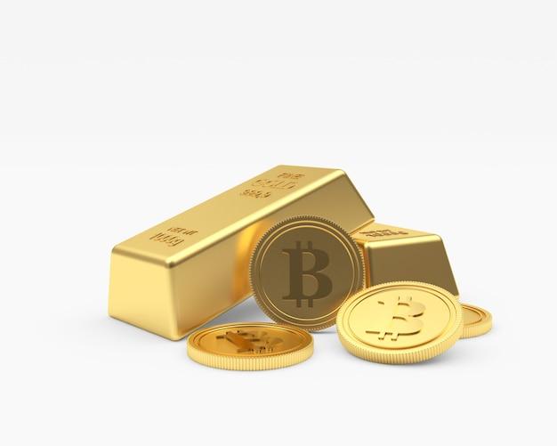 Plusieurs Pièces De Monnaie Bitcoin Avec Des Lingots D'or Photo Premium