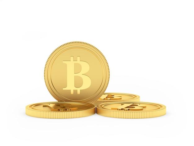 Plusieurs Pièces D'or Bitcoin Photo Premium