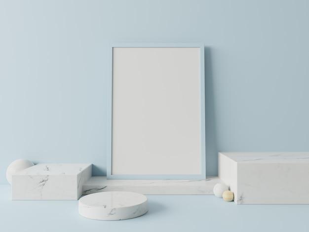 Podium en affiche abstraite pour placer des produits sur un mur bleu, rendu 3d Photo Premium