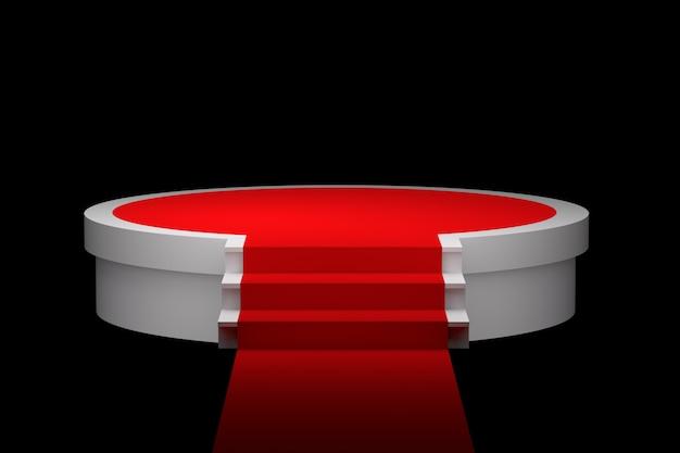 Podium blanc sur fond de tapis rouge Photo Premium