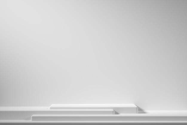 Podium de couleur blanche forme géométrie abstraite sur fond blanc avec projecteur pour produit. concept minimal. rendu 3d Photo Premium