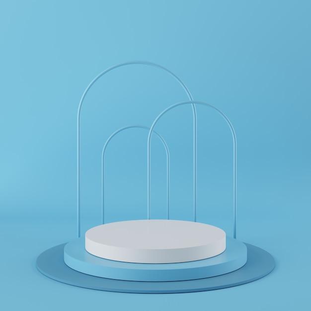 Podium de couleur bleue forme géométrie abstraite avec la couleur blanche sur fond bleu pour le produit. concept minimal. rendu 3d Photo Premium