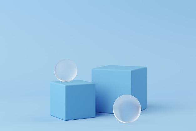 Podium de couleur bleue forme géométrie abstraite avec verre dépoli sur fond bleu pour le produit. concept minimal. rendu 3d Photo Premium