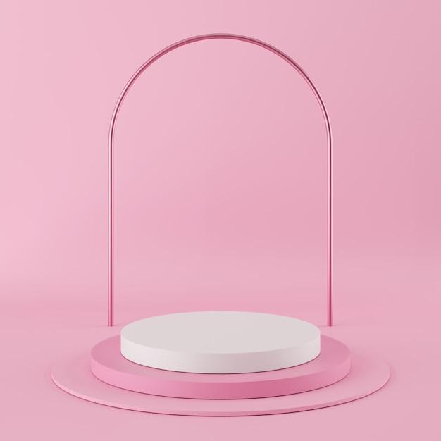 Podium de couleur rose de forme géométrique abstraite avec la couleur blanche sur fond rose pour le produit. Photo Premium