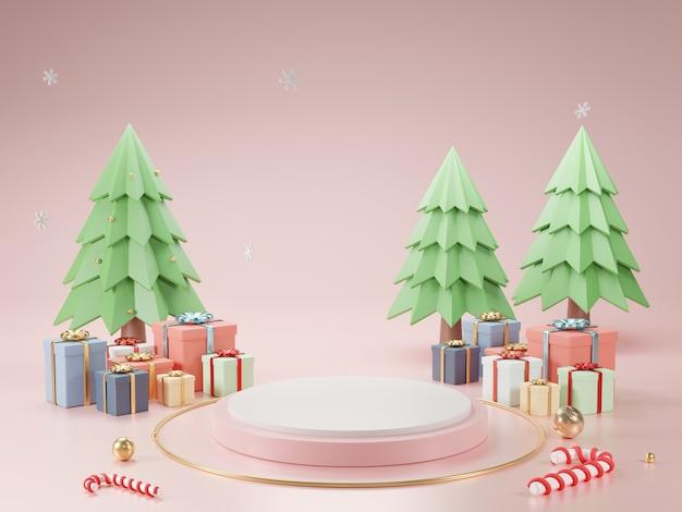 Podium De Cylindre Et Fond Abstrait Minimal Pour Noël, Forme Géométrique De Rendu 3d, Scène Pour Produit. Photo Premium