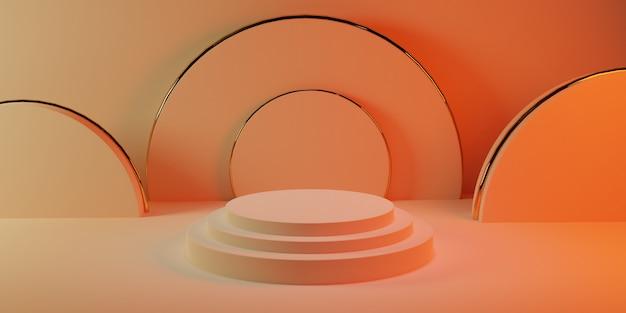 Podium Cylindrique En Or Rose Pastel Avec Des Formes Cylindriques Sur Une Pièce Pastel Rose Photo Premium