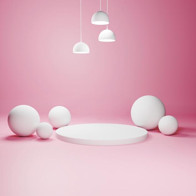 Podium Géométrique Abstrait Avec Des Sphères Et Des Lampes Photo Premium