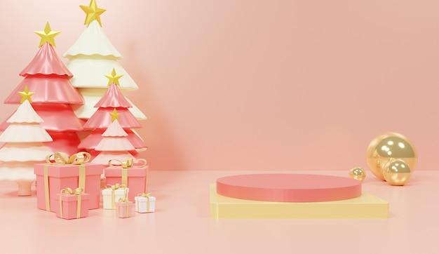 Podium Géométrique Tridimensionnel Pour La Présentation De Produits Avec Des Arbres Et Des Cadeaux Photo Premium