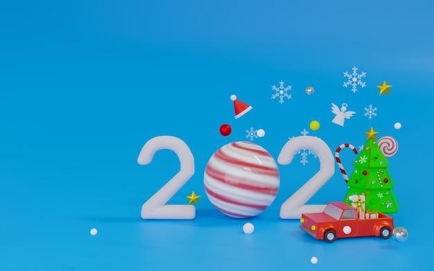 Podium De Rendu 3d Et Thème De La Scène Joyeux Noël Et Bonne Année 2021 Photo Premium