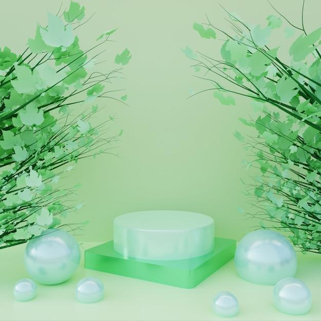 Podium Vert Avec Des Feuilles Vertes Sur L'arbre En Fond De Surface Verte. Piédestal 3d Pour La Publicité Cosmétique Et La Vitrine De Produits Photo Premium