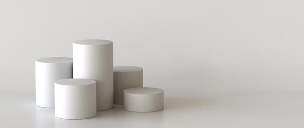 Podium vide sur fond blanc. rendu 3d. Photo Premium
